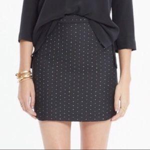 Madewell Shirttail Hem Metallic Jacquard Skirt